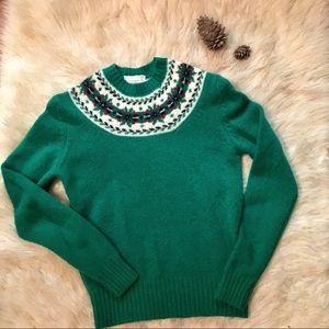 Vintage Braemar Green Fair Aisle Knit Wool Sweater